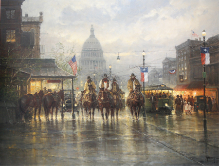 Cowhands on the Avenue by artist G Harvey