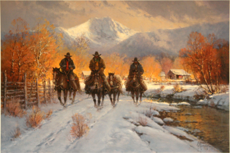 Snowy Crossing by artist G Harvey