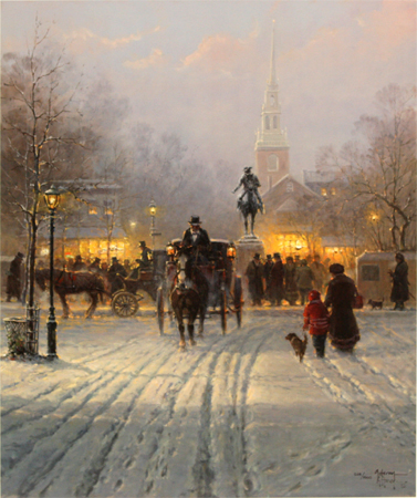 Winter Evening in Old Boston  by artist G Harvey