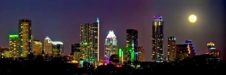 Moonrise Over Austin by artist Derris Lanier
