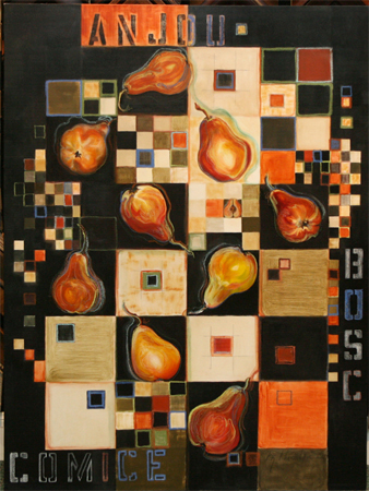 Pears in Squares by artist bj thornton