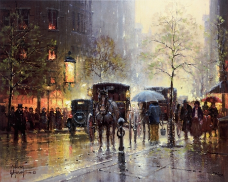 Rainy Day on Central Park South by artist G Harvey
