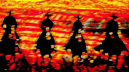 Four Cowboys by artist Don Barrett