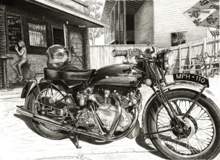 1949 Vincent HRD Rapide by artist Norman Bean