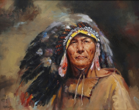 Native American Chief by artist Mohammad Ali Bhatti