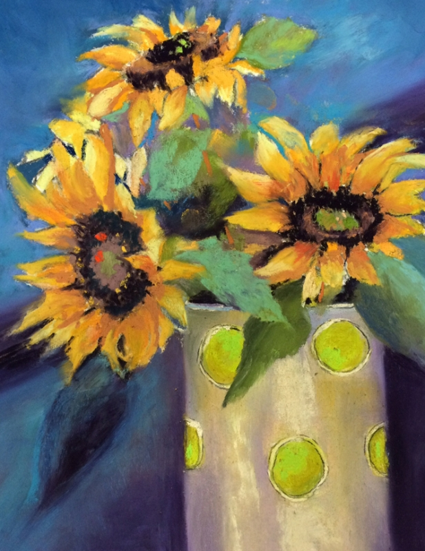 Backyard Sunflowers by artist Vicki Brevell