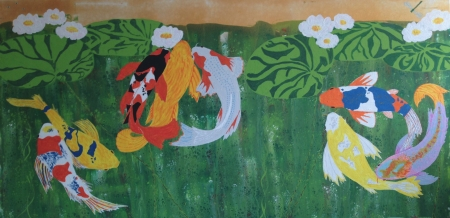 Koi and Lilies by artist Alison Centerwall