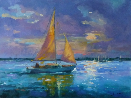 A Sail at Sunset by artist Janelle Cox