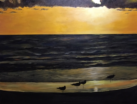 Sea birds at dusk by artist Holly Craig