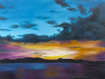 Twilight on Lake Travis by artist Holly Craig