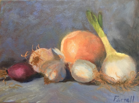 Onions and a Garlic by artist Sandra Farrell
