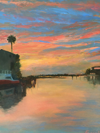 Sunset in Port A by artist Sandra Farrell