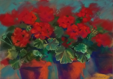 Three Pots of Geraniums by artist Julia Fletcher
