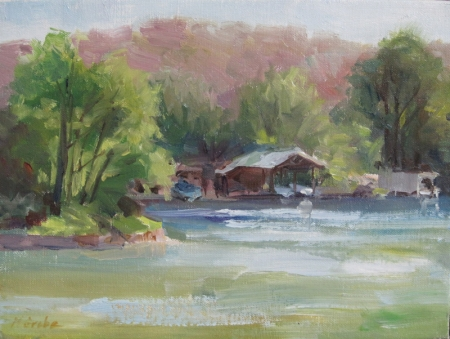 Boathouse Laguna Gloria by artist Nancy Grobe