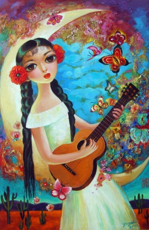 Contessa with Guitar by artist Ping Irvin