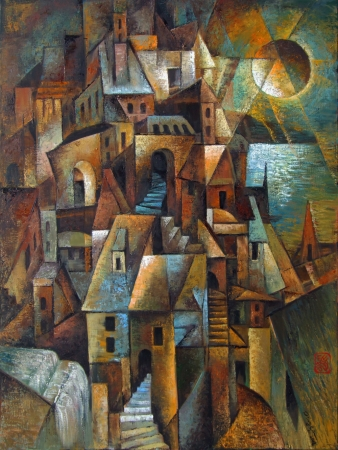 Cubist City by the Sea by artist Ping Irvin