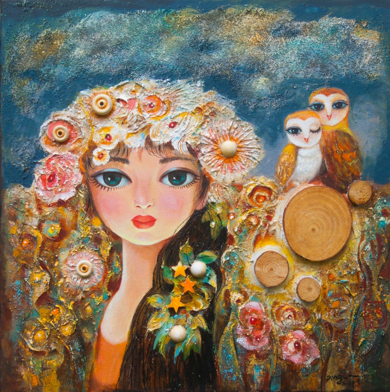 Flower Field and Owls by artist Ping Irvin