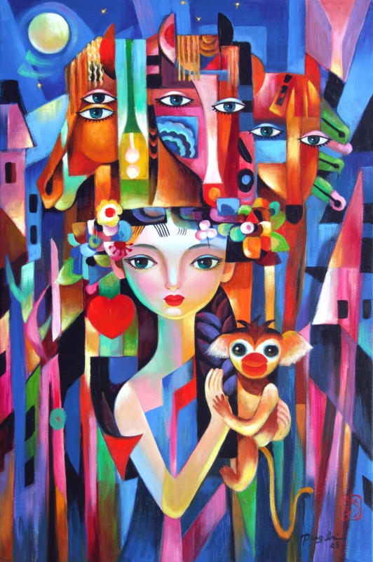 Girl and Monkey in Town by artist Ping Irvin