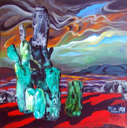 Green and Red Lanscape by artist Ping Irvin