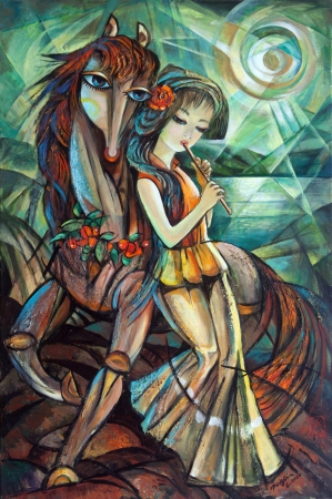 Sunset Flowers and Flute by artist Ping Irvin