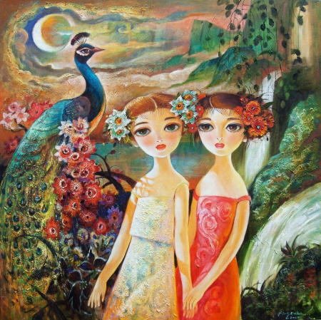 Two Girls and Peacock by artist Ping Irvin