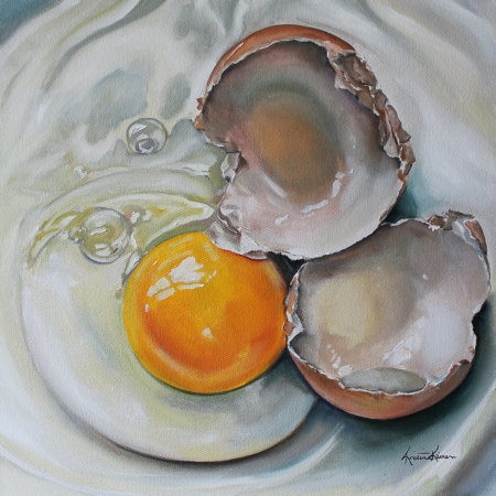Cracked Brown Egg by artist Kristine Kainer