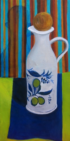 Olive Oil Bottle in The Corner by artist Olga Lora