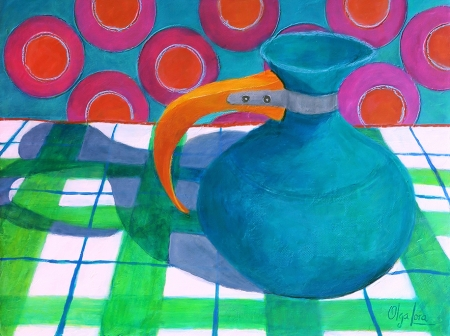 Turquoise Vase from the 50's by artist Olga Lora