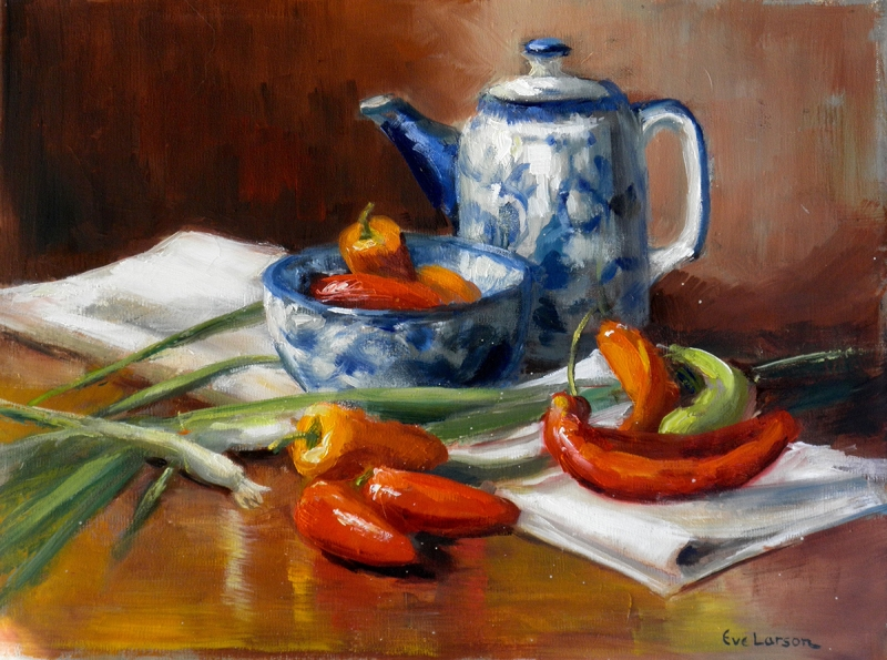 Assorted Peppers by artist Eve Larson