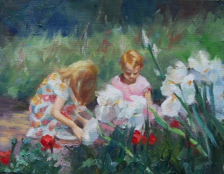 Children Gardening by artist Eve Larson