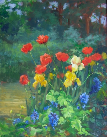 Poppies and Iris by artist Eve Larson