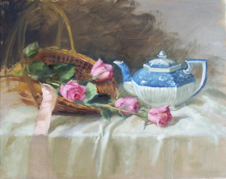 Roses and Teapot by artist Eve  Larson