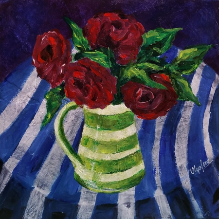 Flowers in a Blue Table by artist Olga Lora