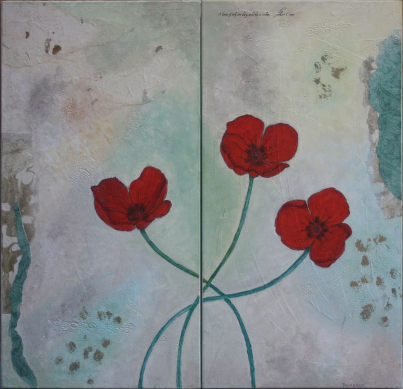 Poppies Dyptich by artist Jan Pomeroy