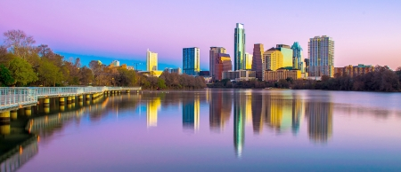 Austin Running Trail, Lake, and Skyline at Dusk by artist Bryan Roschetzky