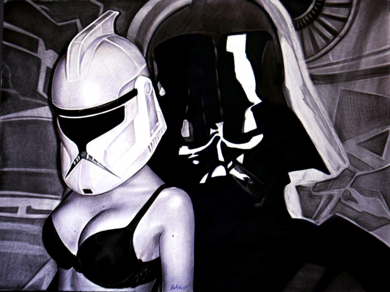 Darth Vader and Storm Trooper by artist Óscar Sánchez
