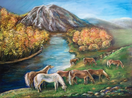 Altai. Golden autumn. by artist Anastasia Shimanskaya