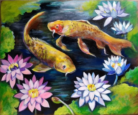 Fishes in a pond by artist Anastasia Shimanskaya