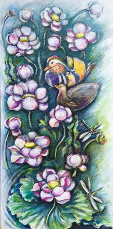 Mandarin ducks or paradise fore two by artist Anastasia Shimanskaya