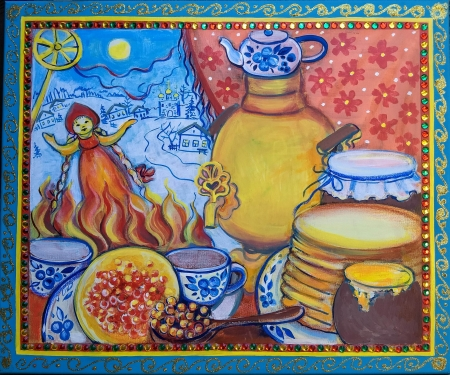 Maslenitsa.Russian folk winter send-offs. by artist Anastasia Shimanskaya