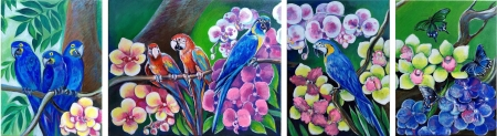 Parrots and orchid by artist Anastasia Shimanskaya