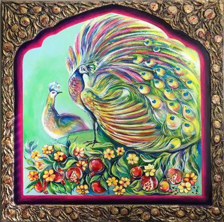 Peacocks in the pomegranate garden by artist Anastasia Shimanskaya