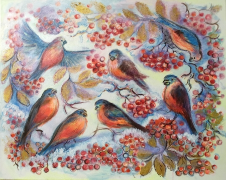 first snow. bullfinches by artist Anastasia Shimanskaya