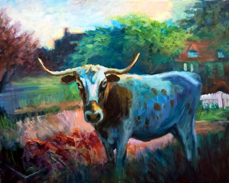 Longhorn on my Lawn by artist Phillip Wade