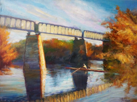 Railway Bridge Autumn by artist Phillip Wade