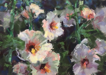 Hollyhocks by artist Jan Weaver