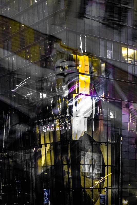 Reflections on a Glass Building by artist Michael Wright