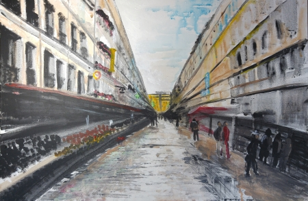 Rue Cler In The Rain by artist Eryn Zavaleta