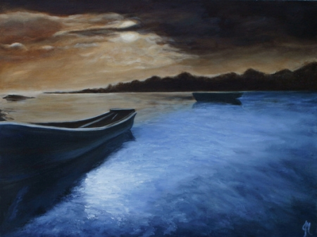 Boats at Twilight by artist Jenn Niebuhr