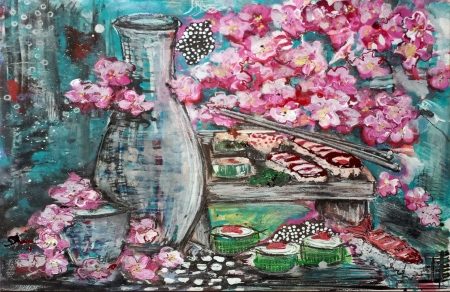 Sushi and Sake for One by artist Shannon Fannin